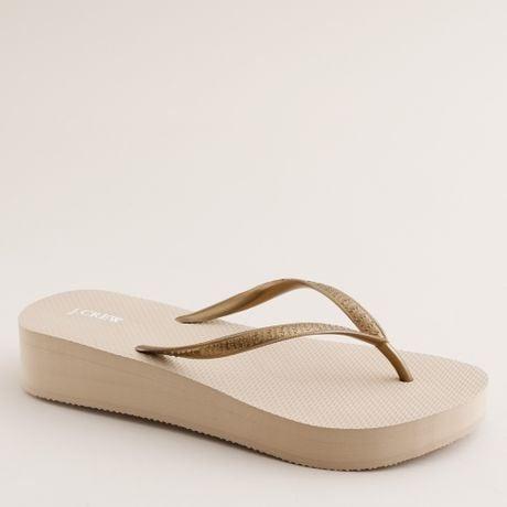 da58674d843e J Crew Gold Flip Flops ~ Gold Sandals