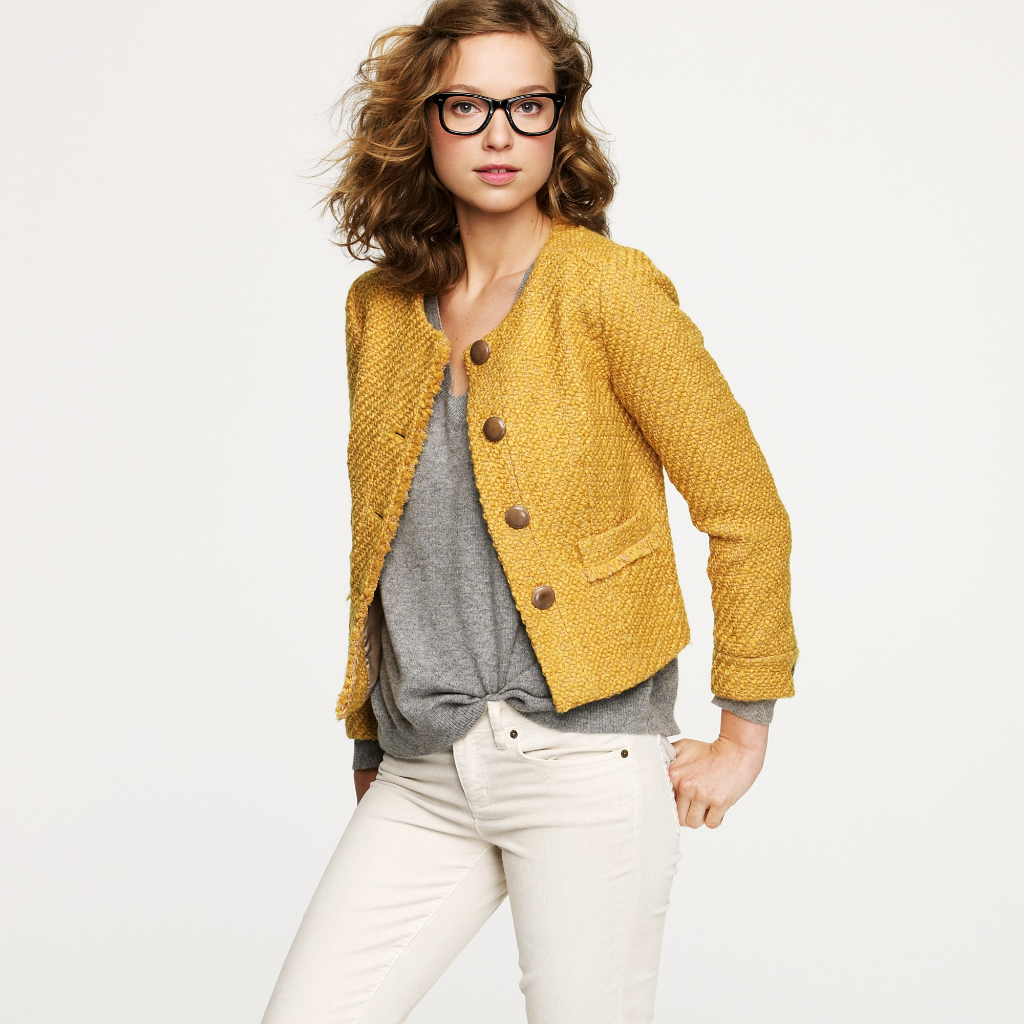 J.crew Vintage Tweed Jacket in Yellow | Lyst