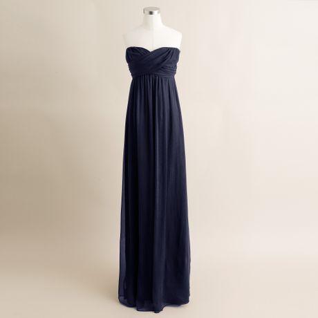 Navy Blue Maxi Dress on Crew Taryn Long Dress In Silk Chiffon In Blue  Newport Navy    Lyst