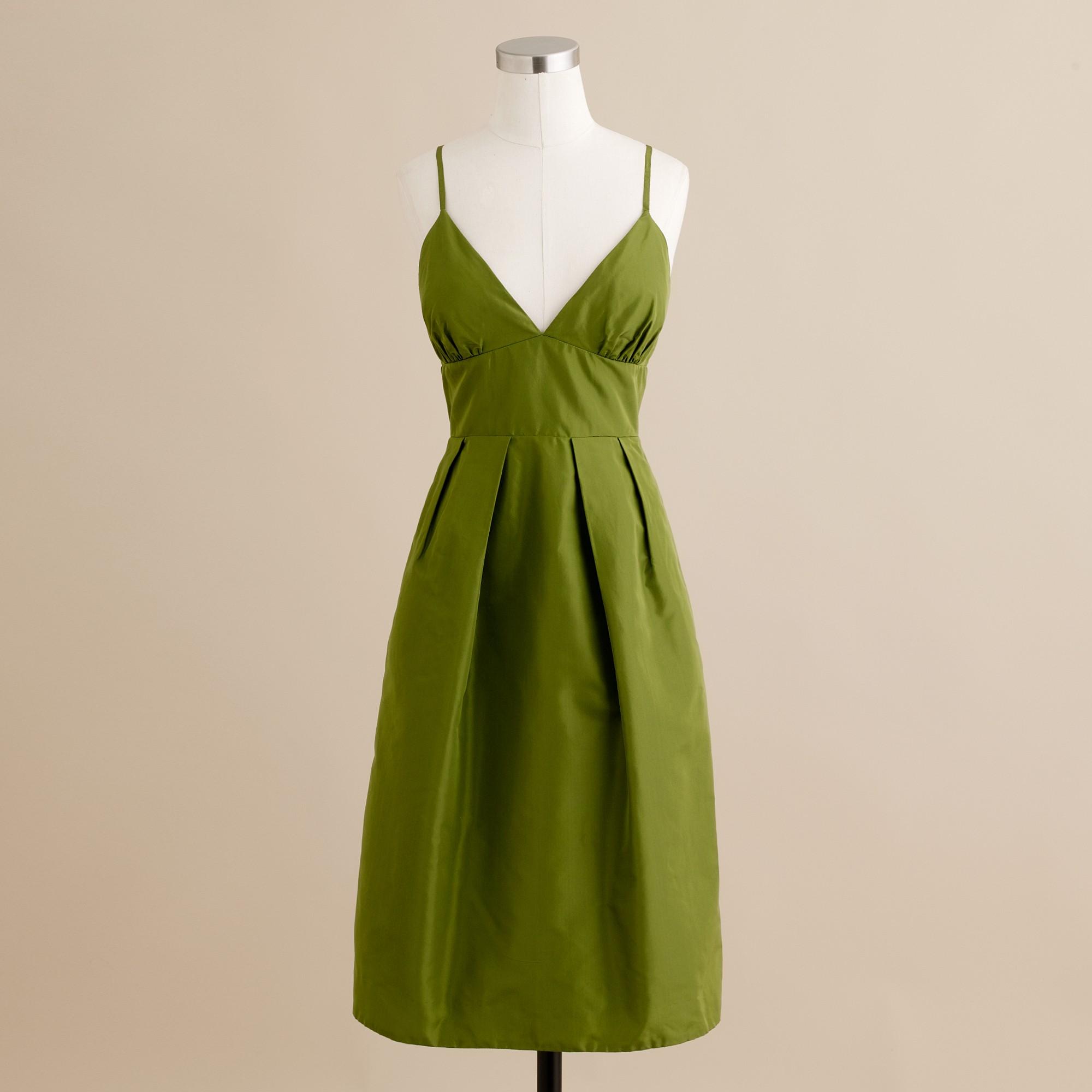 Adrienne Dress In Silk Taffeta: J.Crew Adrienne Dress In Silk Taffeta In Green