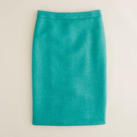 j crew no 2 pencil skirt in serge wool in green