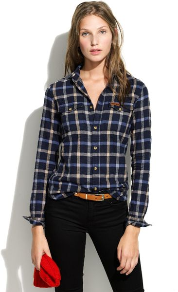 Madewell Penfield Kuffman Plaid Flannel in Blue (blue plaid)