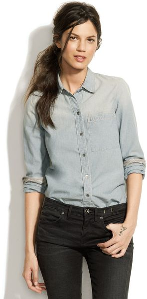 Madewell Shrunken Chambray Boyshirt - Lyst