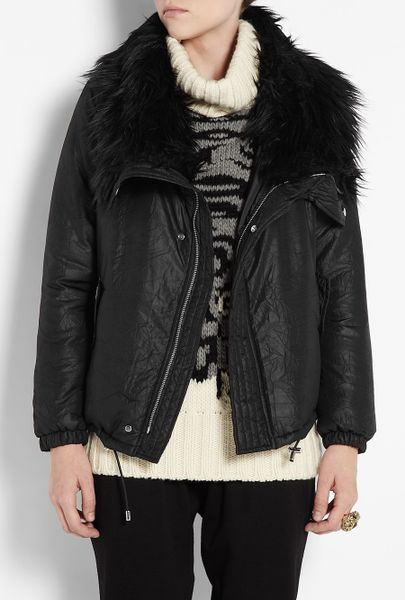 Michael Michael Kors Bungee Coat With Fur Collar In Black