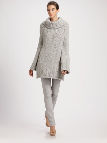 Knitting Patterns For Tunic Sweaters : Donna Karan New York Hand-knit Wool Tunic Sweater in Gray ...