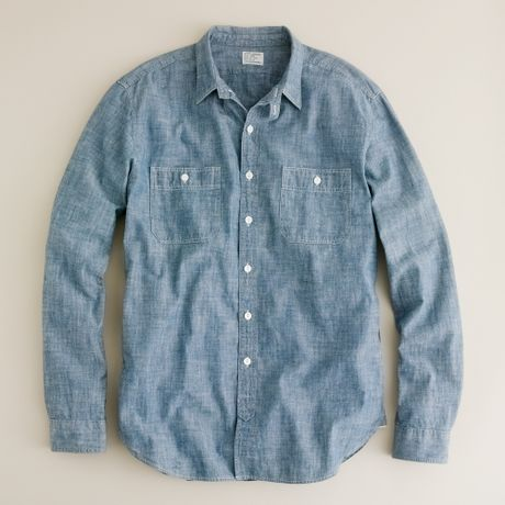 J.crew Vintage Chambray Utility Shirt in Blue for Men (coastal blue)