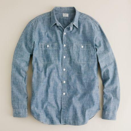 J.Crew | Blue Selvedge Japanese Chambray Utility Shirt for Men | Lyst