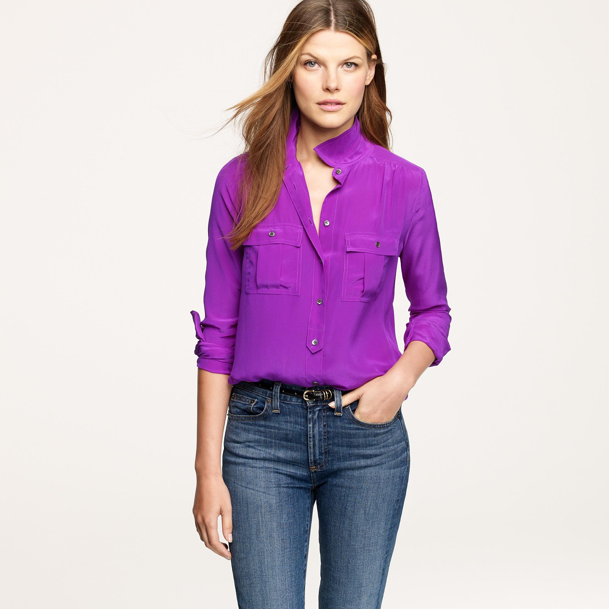 3248477e9 J.Crew Blythe Blouse in Silk in Purple - Lyst