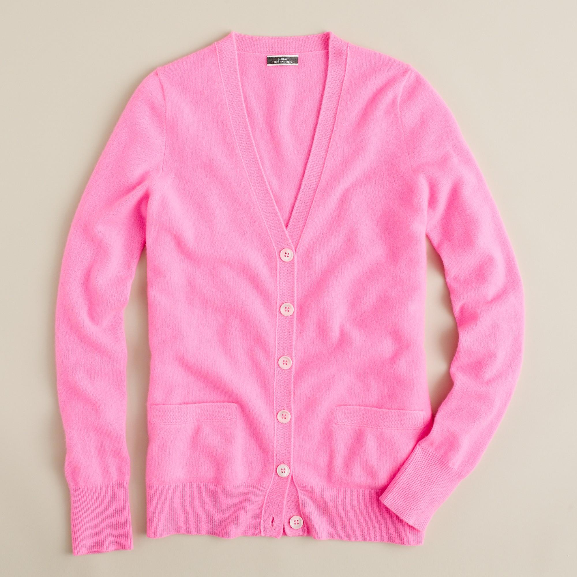 J.crew Cashmere Boyfriend Cardigan in Pink | Lyst