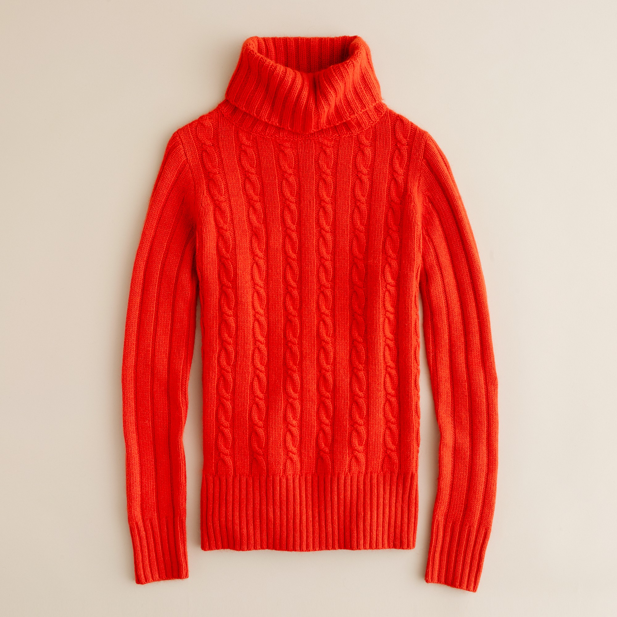 1a2e48ab9 J.crew Cambridge Cable Chunky Turtleneck Sweater in Red