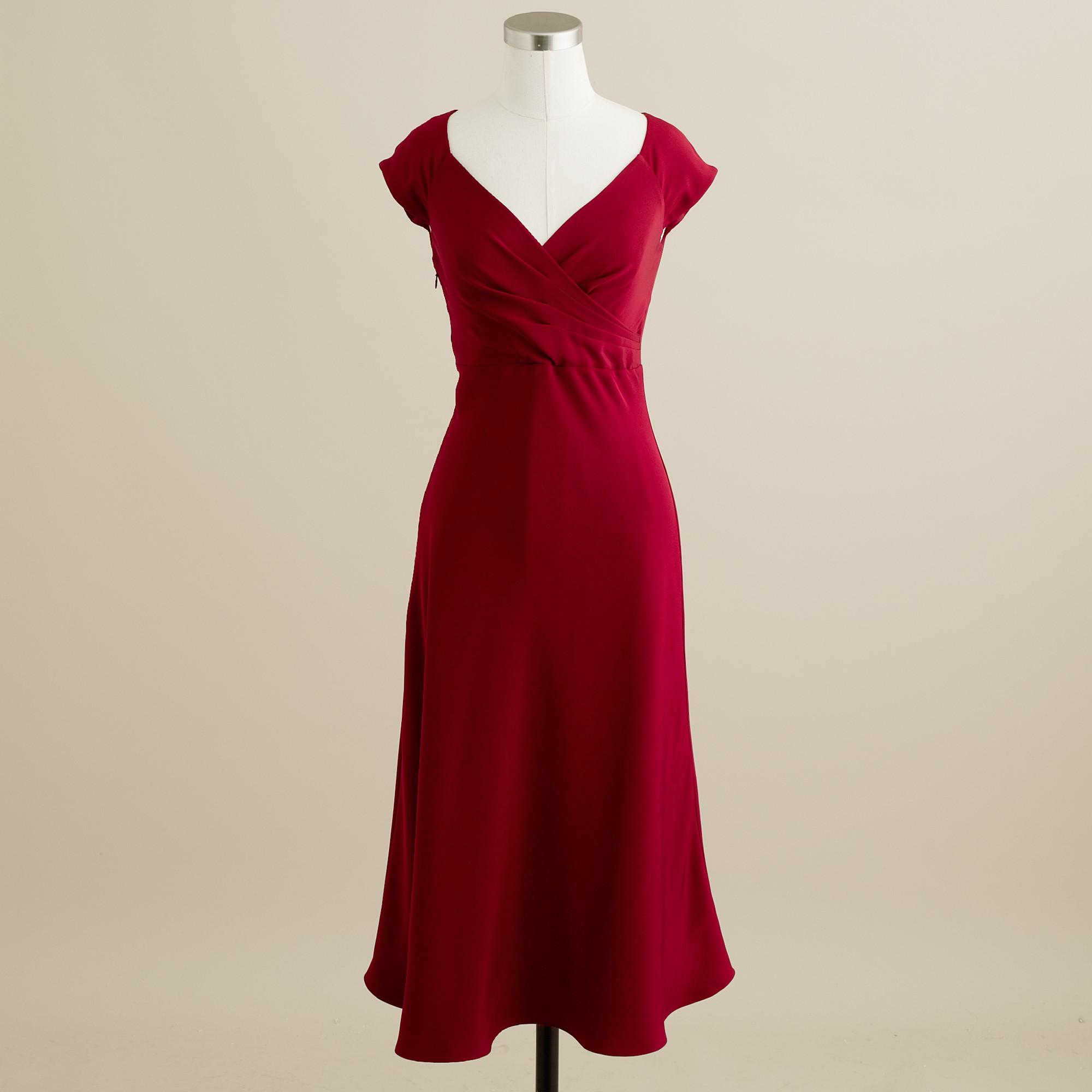 J Crew Cecelia Dress In Silk Tricotine In Red Vintage