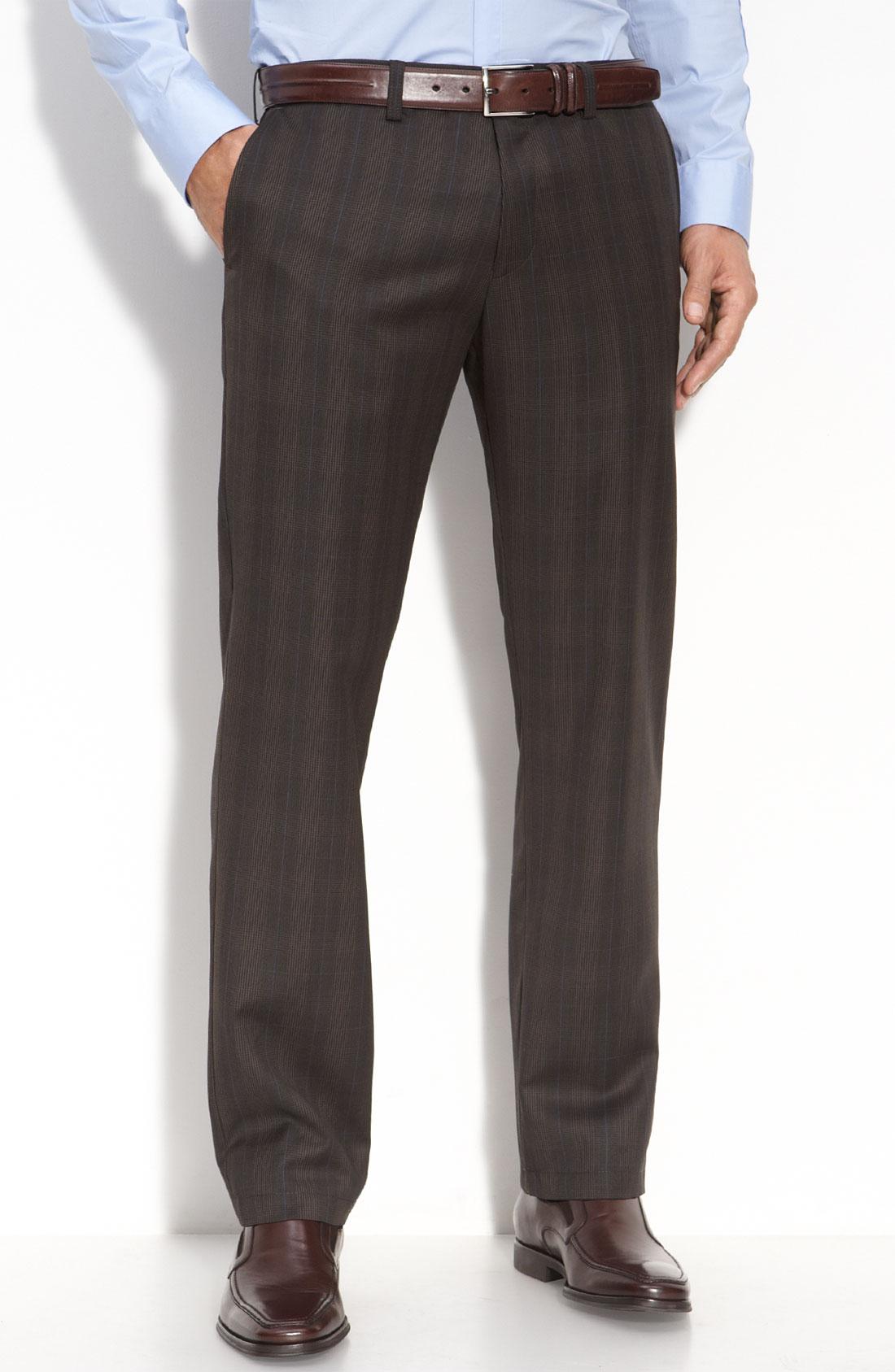 Hugo Boss Boss Black Crigan Flat Front Plaid Wool Pants In