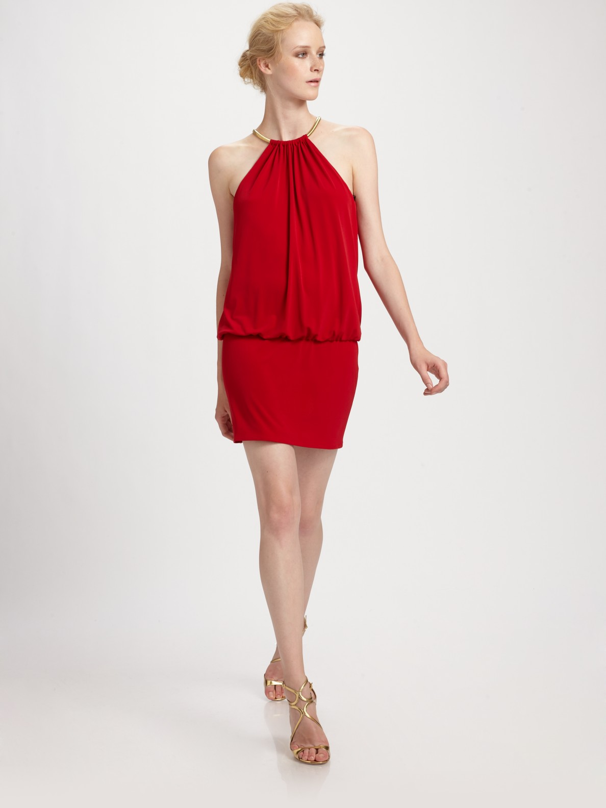 Laundry By Shelli Segal Ring Neck Halter Mini Dress In Gold Lyst