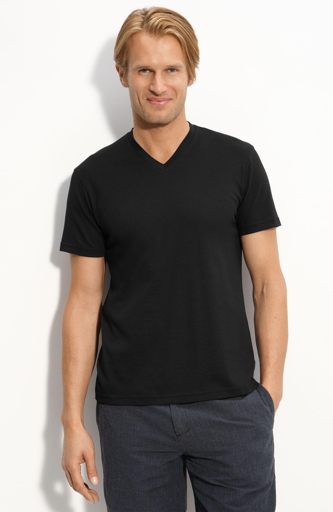 michael kors liquid jersey v neck t shirt in black for men. Black Bedroom Furniture Sets. Home Design Ideas