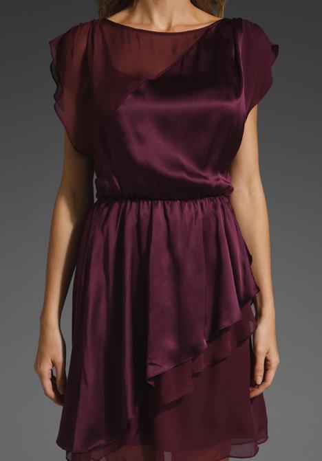 Alice Olivia Rory Butterfly Wrap Dress In Purple Wine