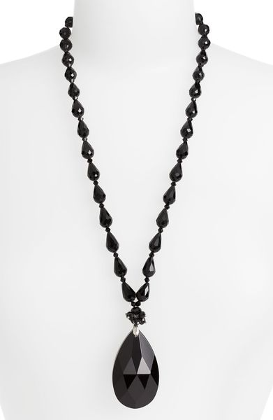 Cara Accessories Faceted Crystal Teardrop Pendant Necklace in Black (jet) - Lyst