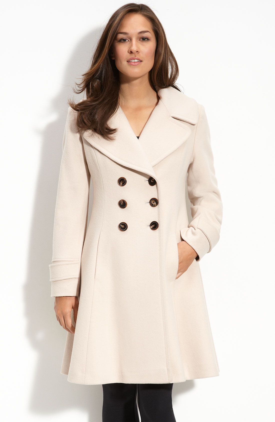 Fleurette Double Breasted Princess Coat In Beige (blanco
