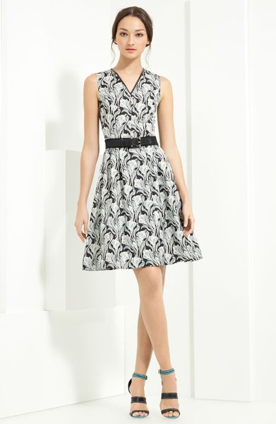 Jason Wu Floral Print Belted Dress in Black (black/ grey) - Lyst