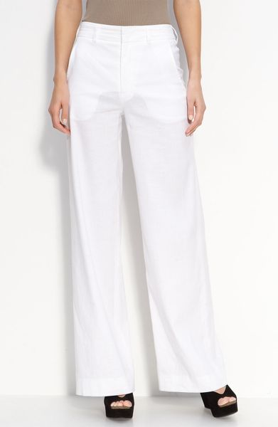 Vince Stretch Linen High Waisted Wide Leg Pants In White