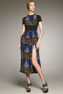 Burberry Prorsum Jersey-inset Printed Dress - Lyst