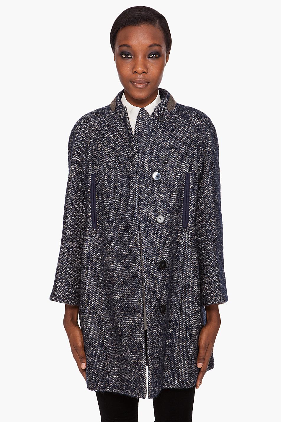 Carven Navy Tweed Coat in Blue | Lyst