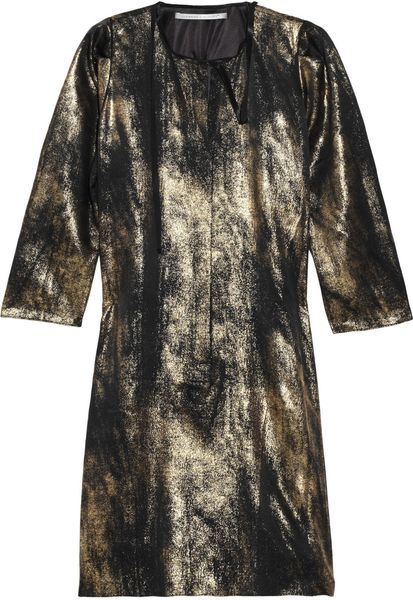 Clemens En August Metallic Silk Dress in Gold (black)