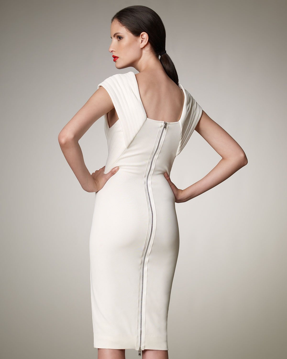 Donna karan Trapunto-stitch Dress in White | Lyst