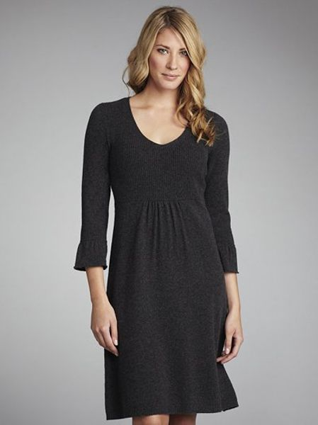 lewis v neck dress in gray charcoal