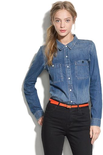 Madewell Shrunken Denim Boyshirt - Lyst