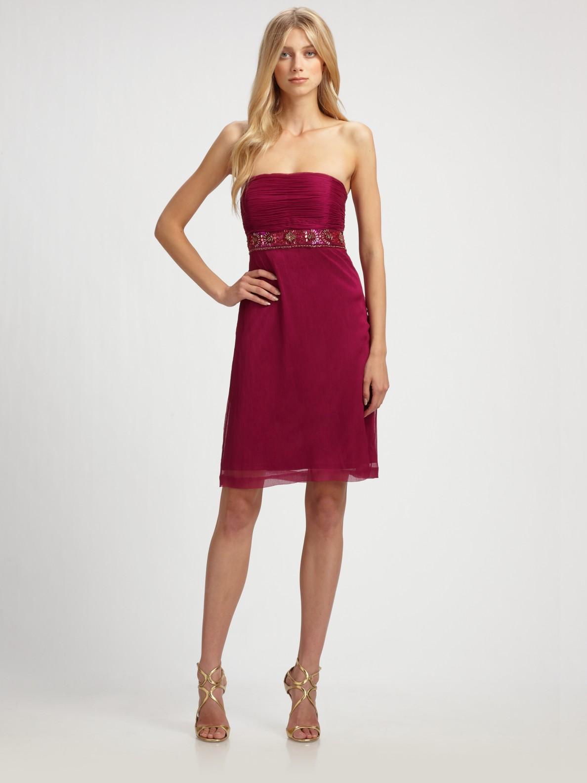 Sue wong Beaded Strapless Dress in Purple - Lyst