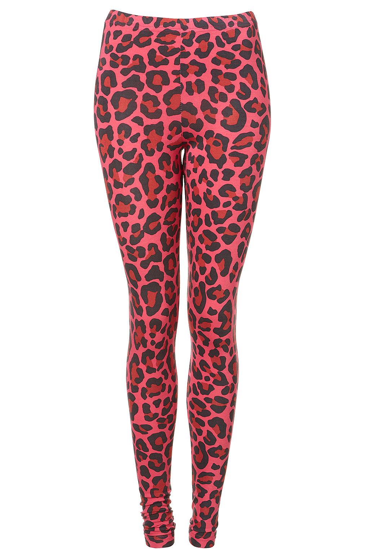 lyst topshop leopard print leggings in pink