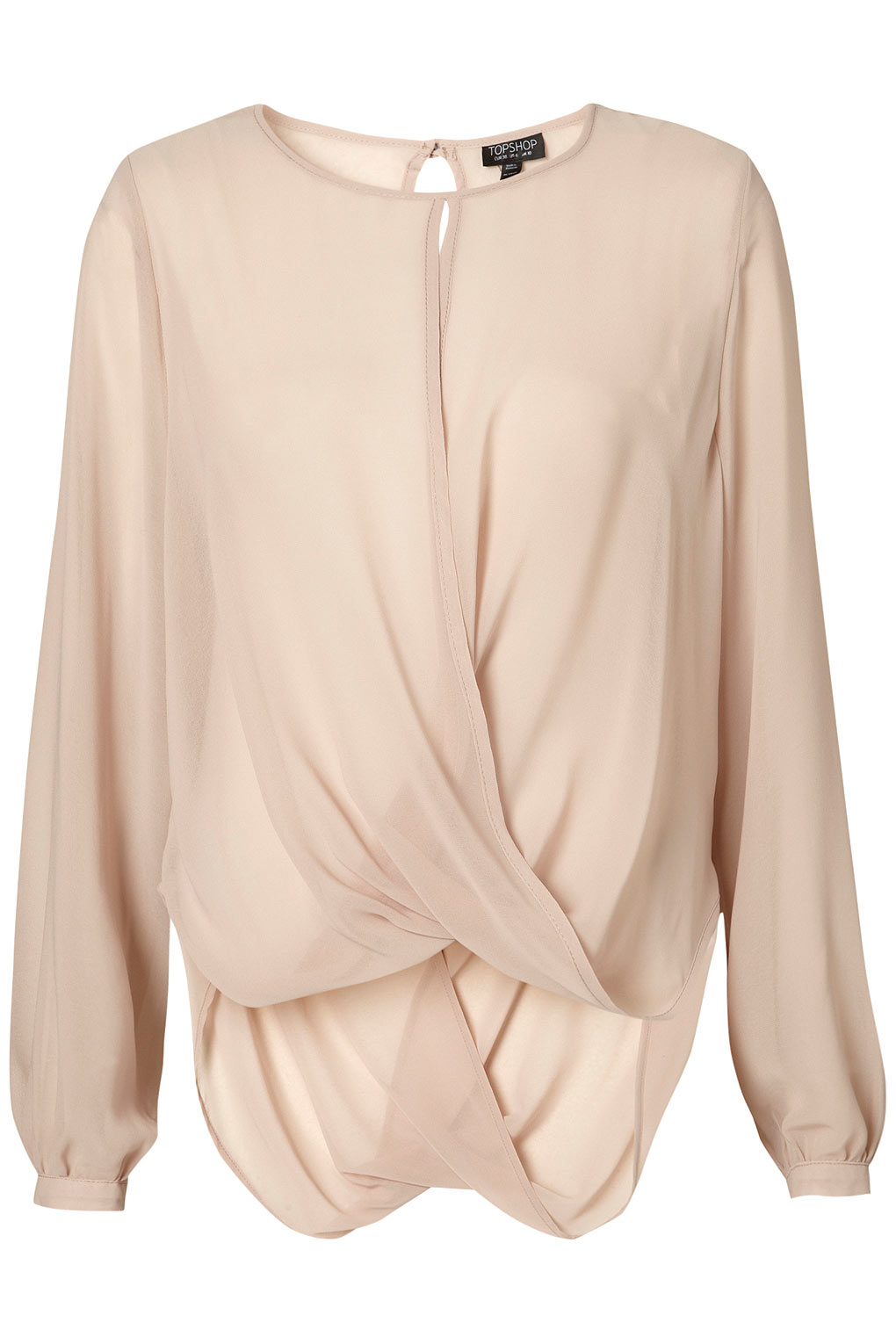 Topshop Drape Front Blouse In Pink Lyst