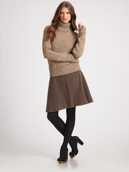 Tory burch kendall brushed wool skirt in brown caramel for Tory burch fashion island
