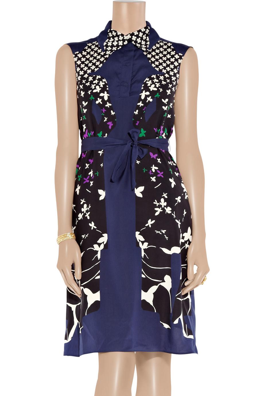 Saint Laurent Printed Silk Crepe De Chine Dress In Blue