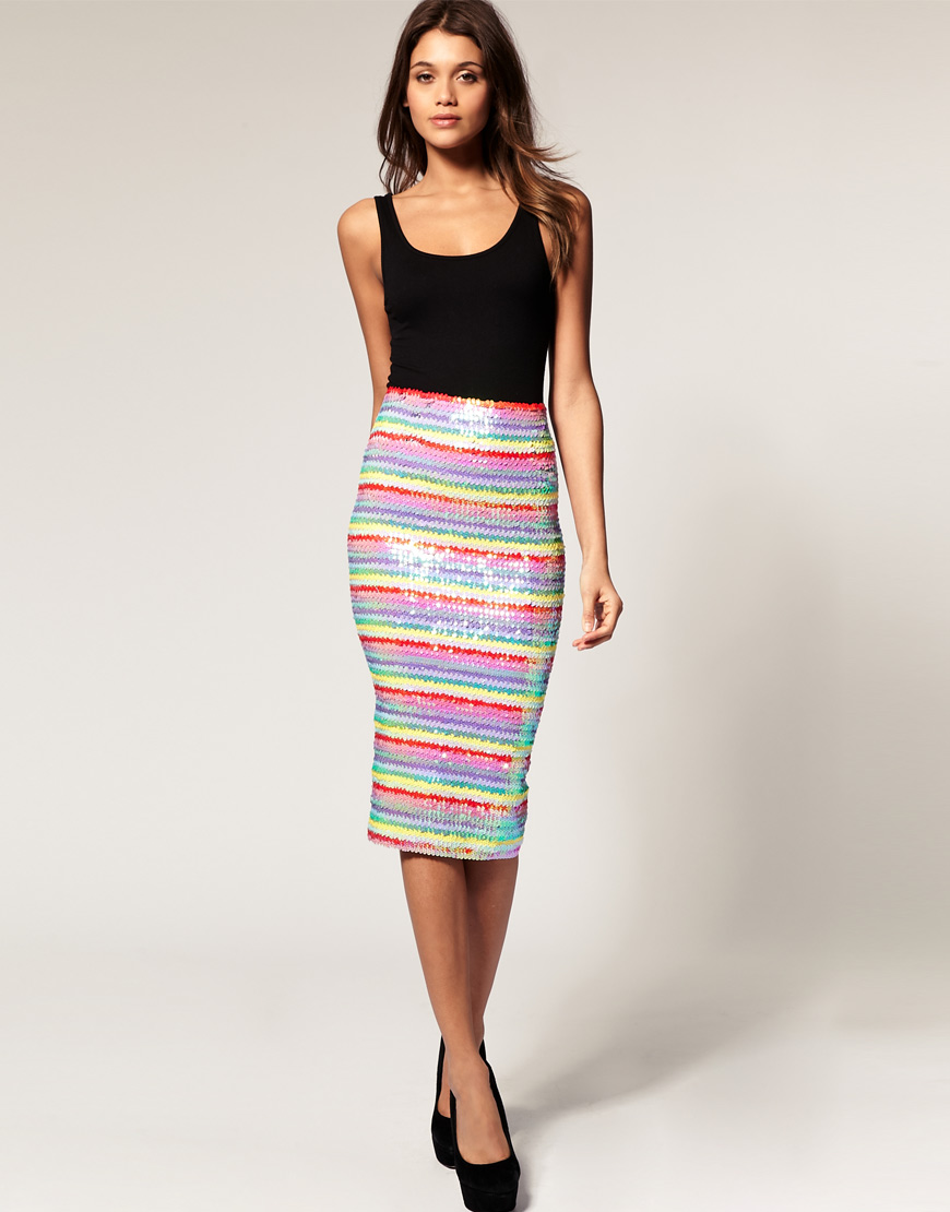 d8d06af47c8 Lyst - ASOS Collection Asos Pencil Skirt in Rainbow Sequins