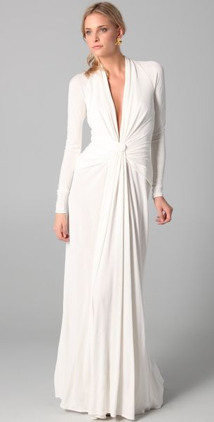 Issa Long Sleeve Open Back Gown In White