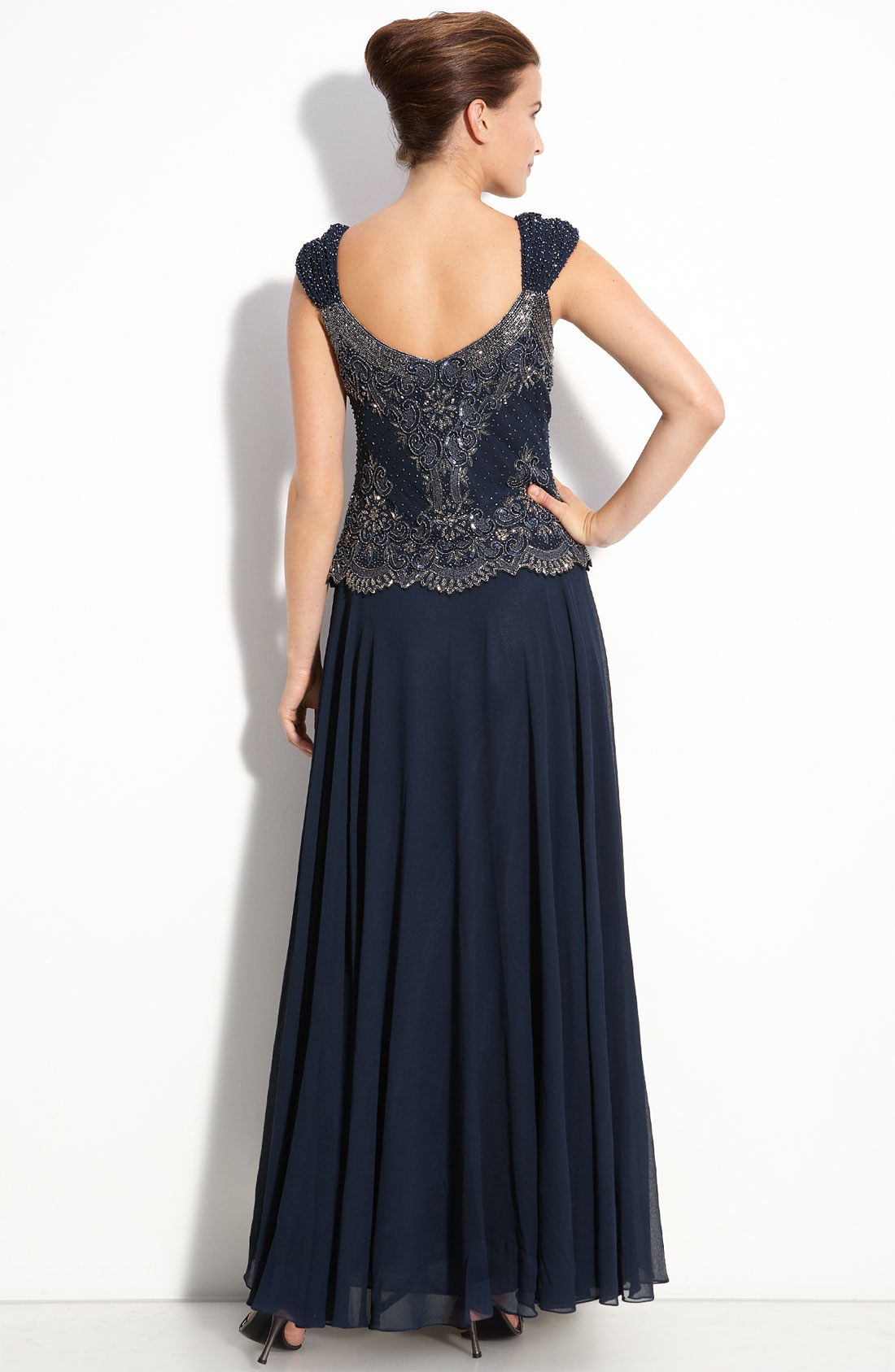 Famous J Kara Beaded Mock Two Piece Chiffon Gown Model - Images for ...