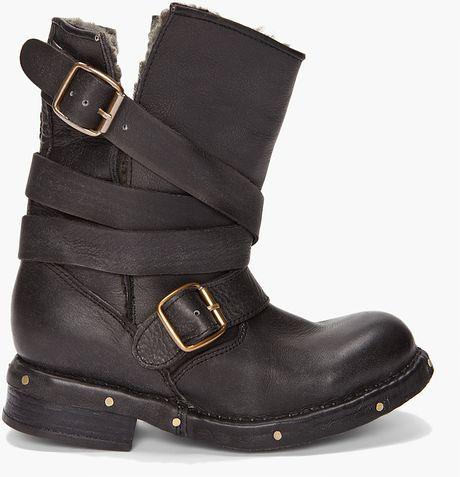 Jeffrey Campbell Brit Fur Boots in Black