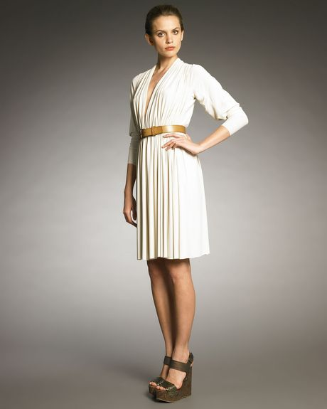 Lanvin Ropeshoulder Draped Dress in White (ivory) - Lyst