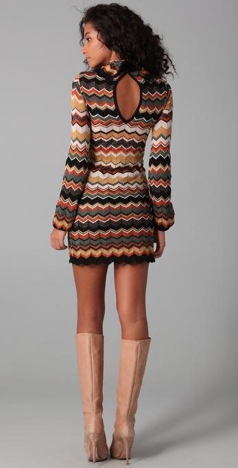 924c63a62cd M Missoni Turtleneck Sweater Dress in Green - Lyst