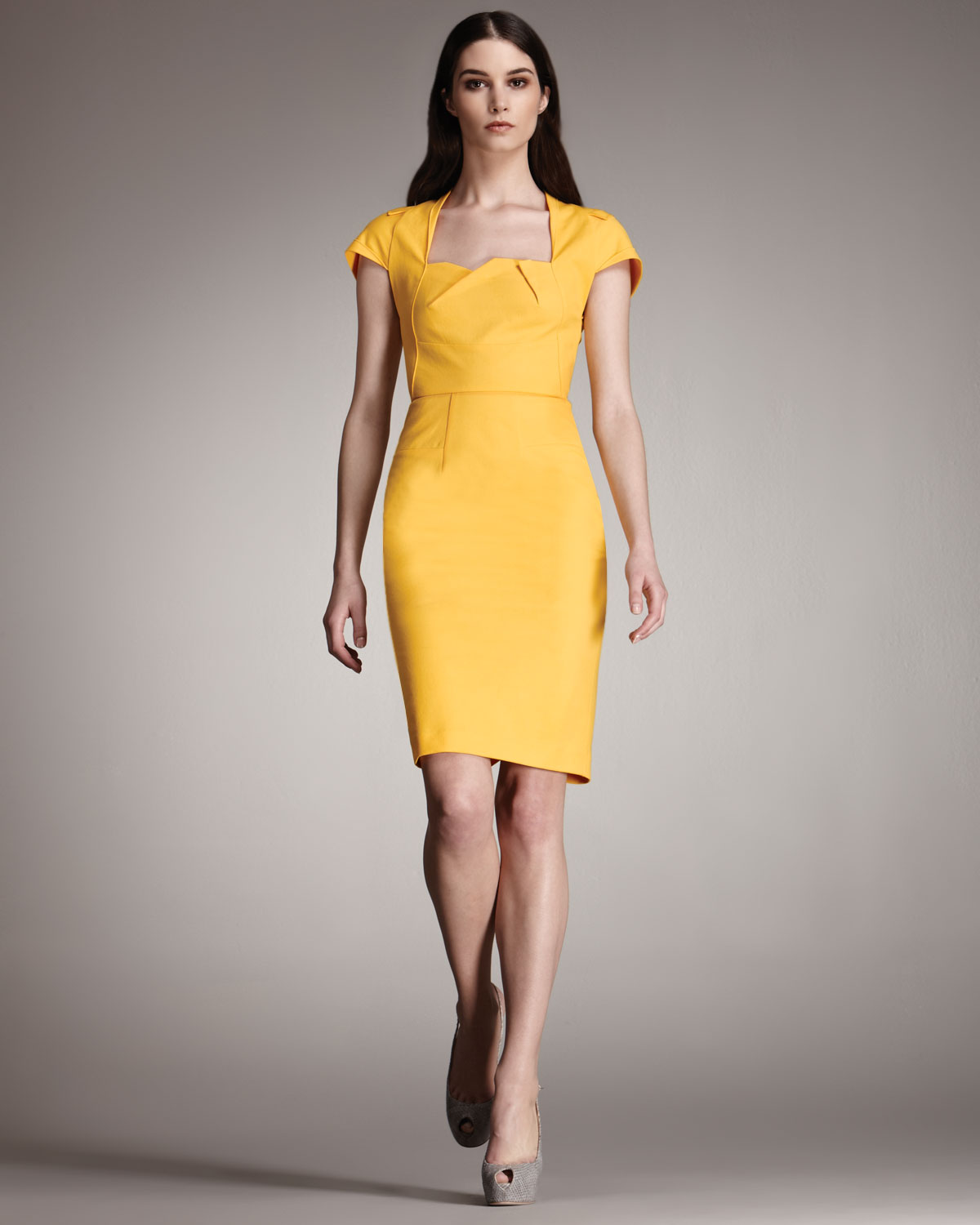 roland mouret exclusive feeny sheath dress in yellow lyst. Black Bedroom Furniture Sets. Home Design Ideas