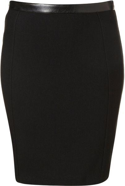 topshop bodycon pencil skirt in black lyst