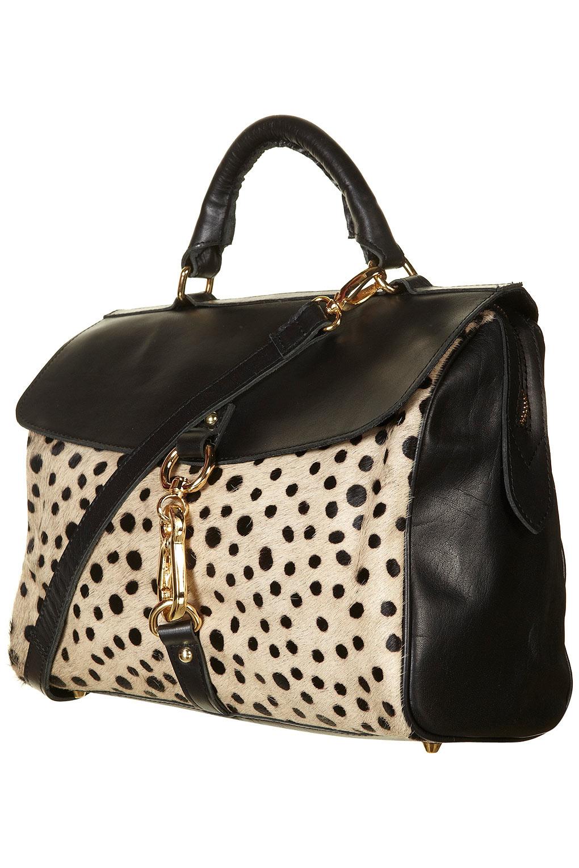 Lyst Topshop Dalmatian Print Satchel Bag In Black