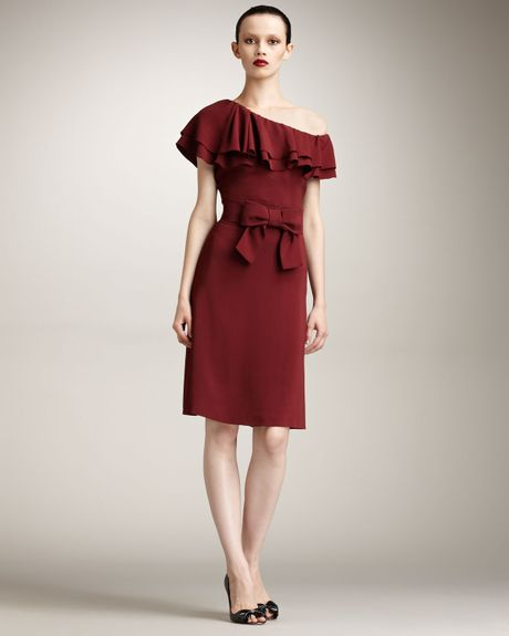 Valentino Oneshoulder Tiered Ruffle Dress in Brown - Lyst
