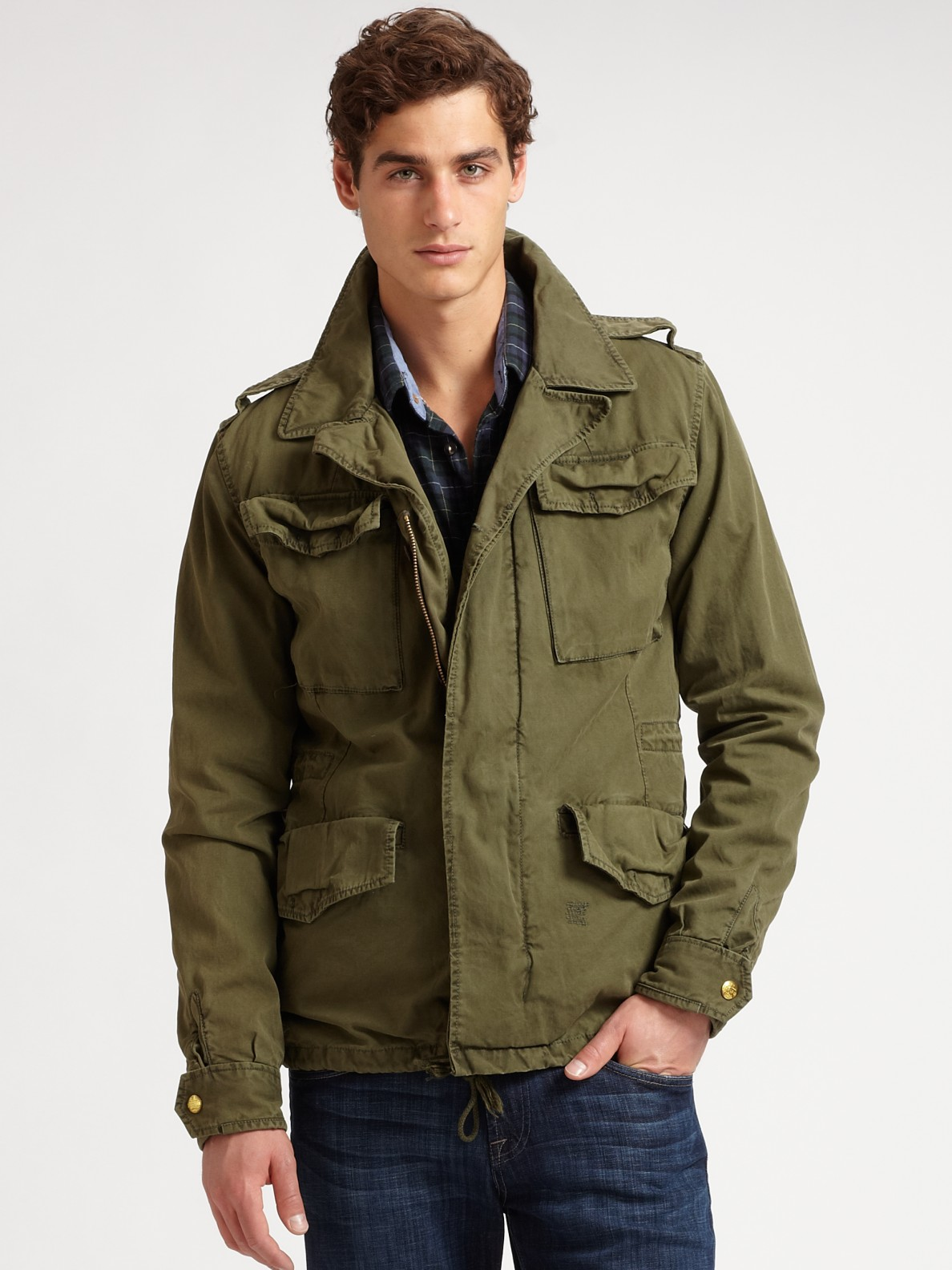 scotch soda convertible military jacket in green for men. Black Bedroom Furniture Sets. Home Design Ideas