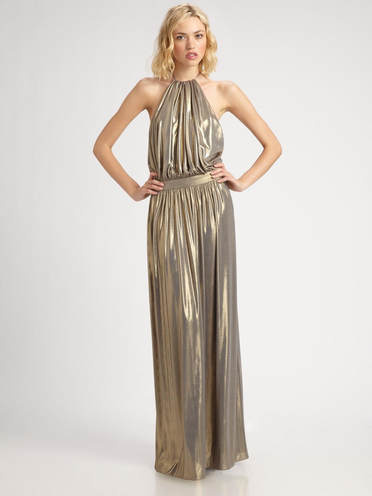 Lyst - Tibi Metallic Halter Dress in Metallic