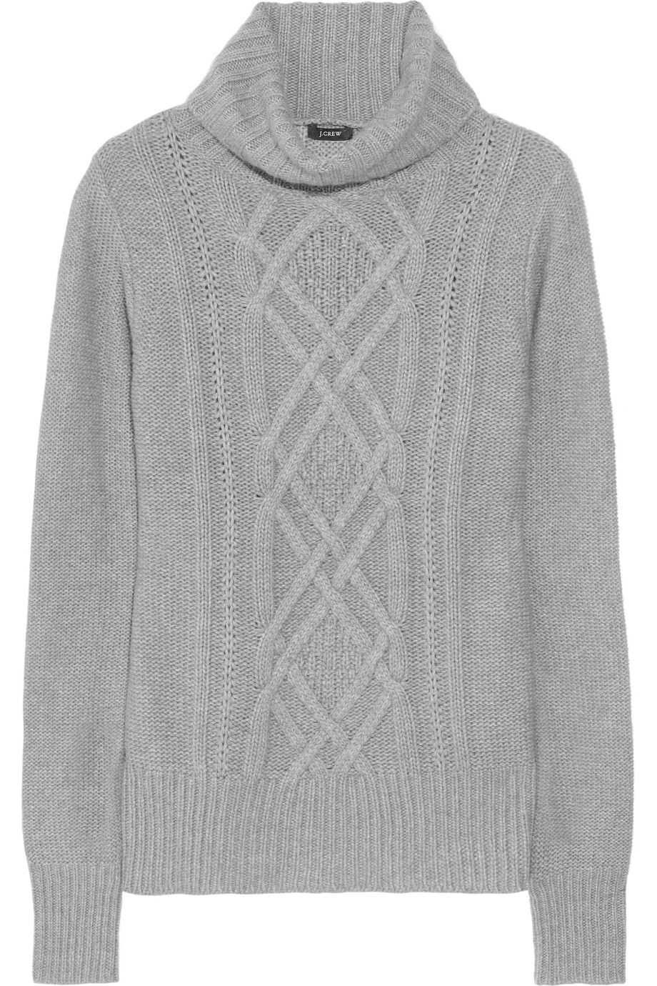 J.crew Cambridge Cable Turtleneck Sweater in Gray | Lyst