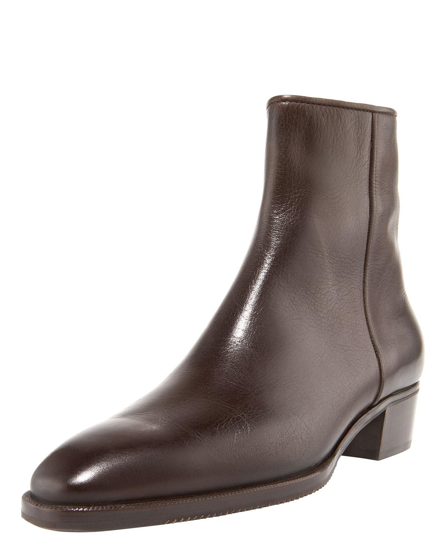 gravati low heel zip ankle boot in brown lyst