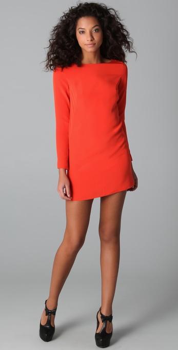 Tibi Long Sleeve Shift Dress In Red Lyst