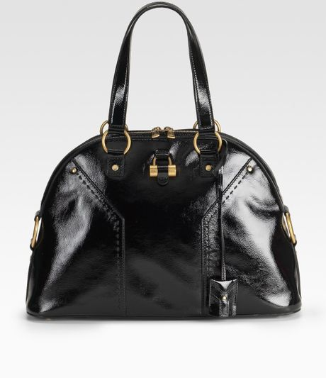 Yves Saint Laurent Patent Leather Muse Bag in Black - Lyst